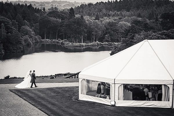 Wedding reception venue Osmaston Derbyshire | Osmaston Park. The view from Osmaston Park's marquee is unparalleled: a picturesque valley with the beautiful lake below and surrounded by fantastic Derbyshire wildlife.