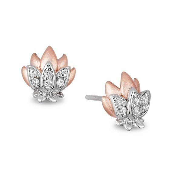 909054497 Enchanted Disney Jasmine 1/10 CT. T.w. Diamond Lotus Stud Earrings in  Sterling Silver and 10K Rose Gold #sterlingsilverbracelets