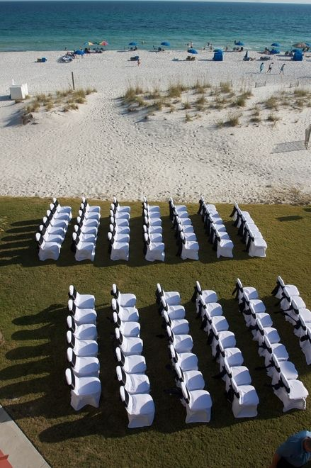 Ceremony Setting On The Green Gulf Side At Hilton