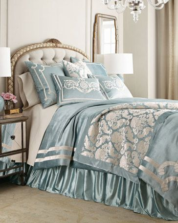 Paris bedding from Horchow...perfect with Beach Blue PeachSkinSheets | repinned by PeachSkinSheets