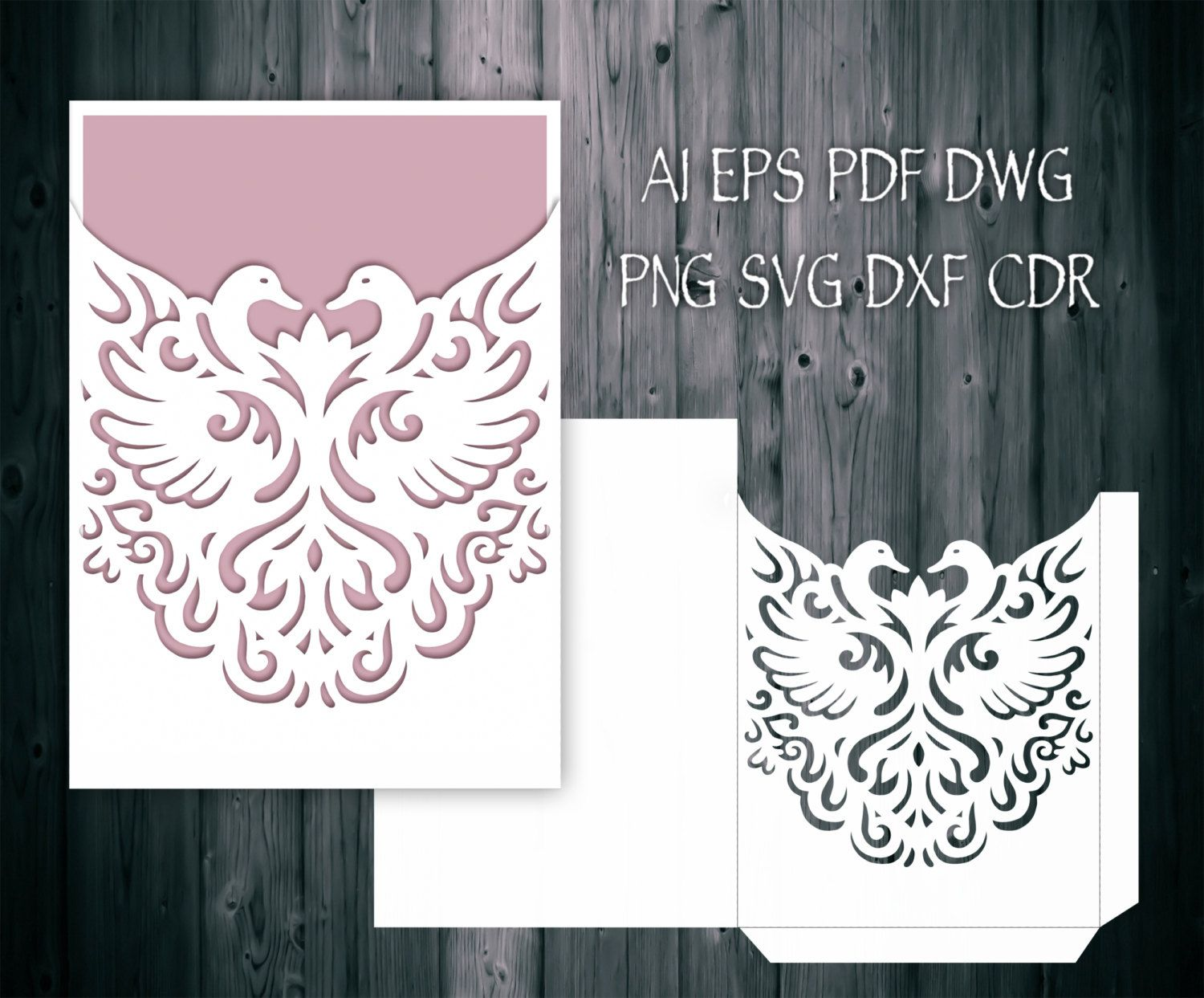 Romantic Swan Couple Wedding Invitation Pocket Envelope 5x7, SVG ...