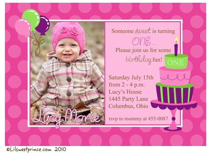Cool 1st Birthday Party Invitations Girl