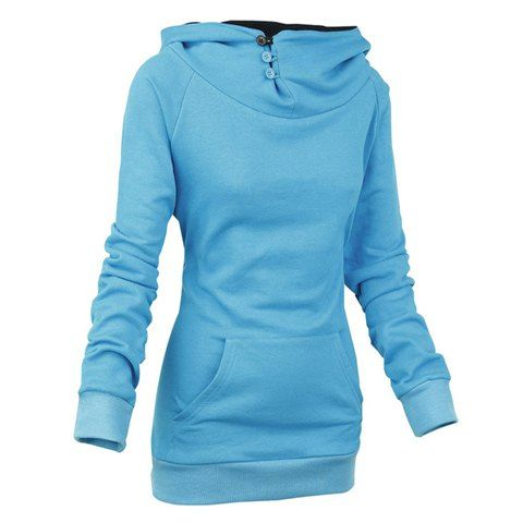 Stylish Front Pockets Solid Color Long Sleeve Women's Hoodie ...