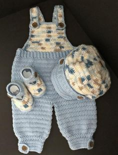 Photo of Baby Boy Crocheted Overalls Outfit 6-9 Months