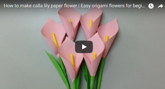 How To Make Calla Lily Paper Flower Easy Origami Flowers For Beginners Making Diy Paper Crafts Easy Origami Flower Paper Flowers Craft Paper Flowers Diy