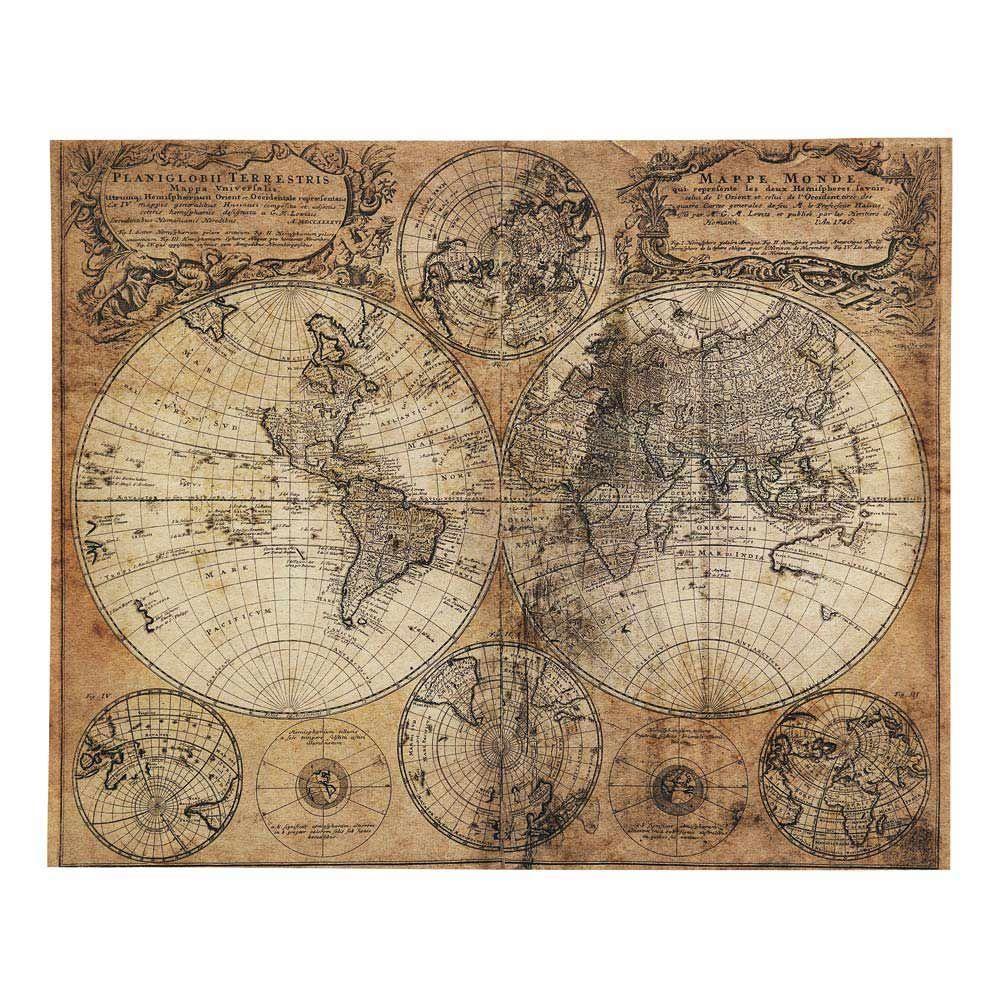 Toile Imprimee Carte Du Monde 73x93 World Map Canvas World Map