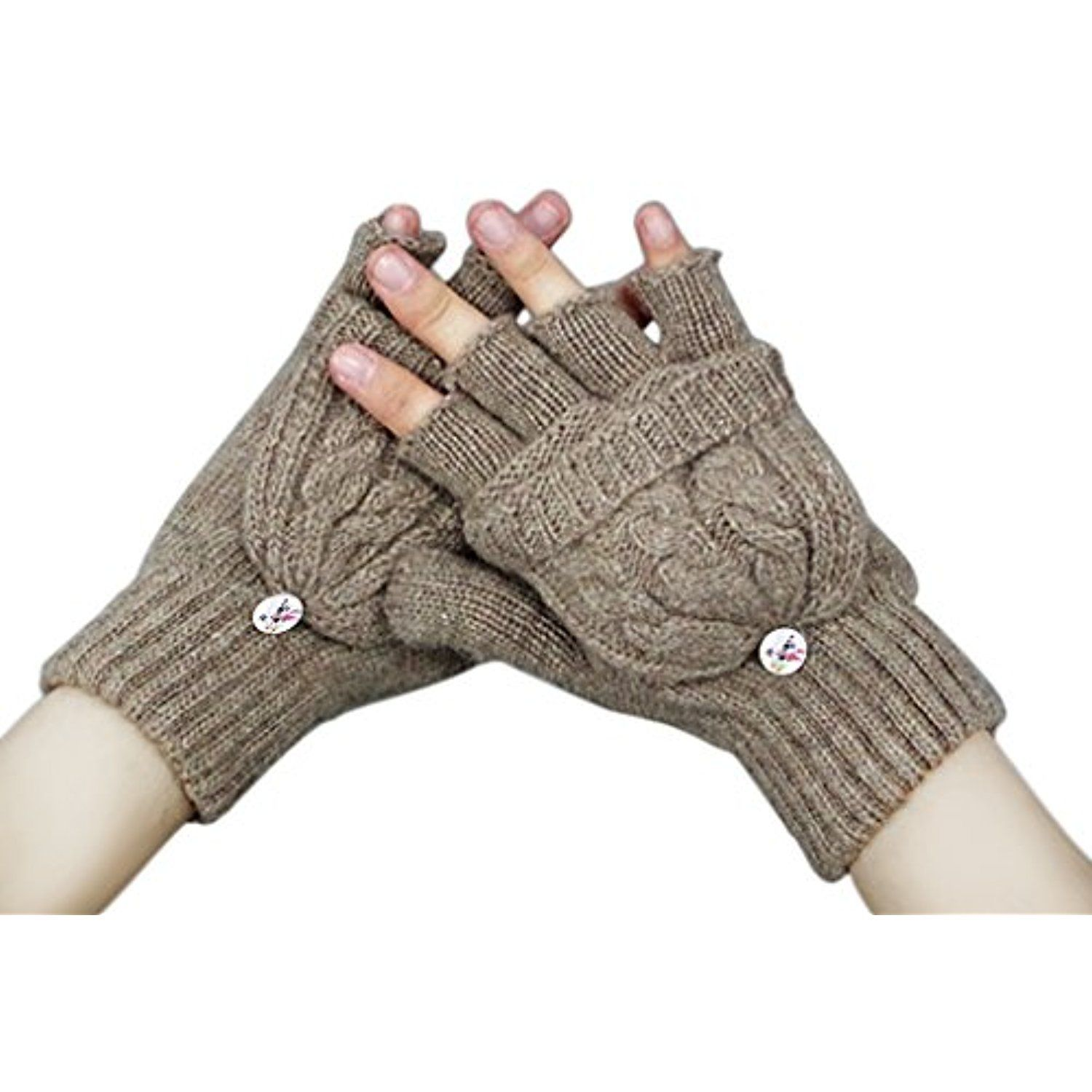 Kids Convertible Mittens Kitten Thermal Girls Cold Weather Gloves for New Year Holiday Season