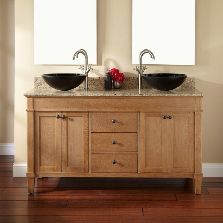 Light Brown Wooden Bathroom Vanities With Double Black Bowl Vessel