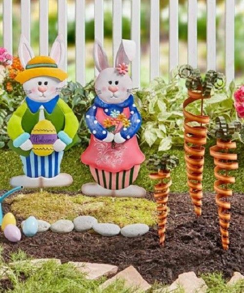Awesome Lawn Ornaments Outdoor Easter Garden Stakes Bunny Rabbit Decorative Yard  Metal | Easter Garden, Garden Stakes And Bunny Rabbit