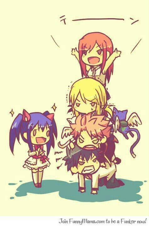 Wendy, Gray, Natsu, Lucy, Happy, Erza, text, cute, chibi, funny, pyramid; Fairy Tail