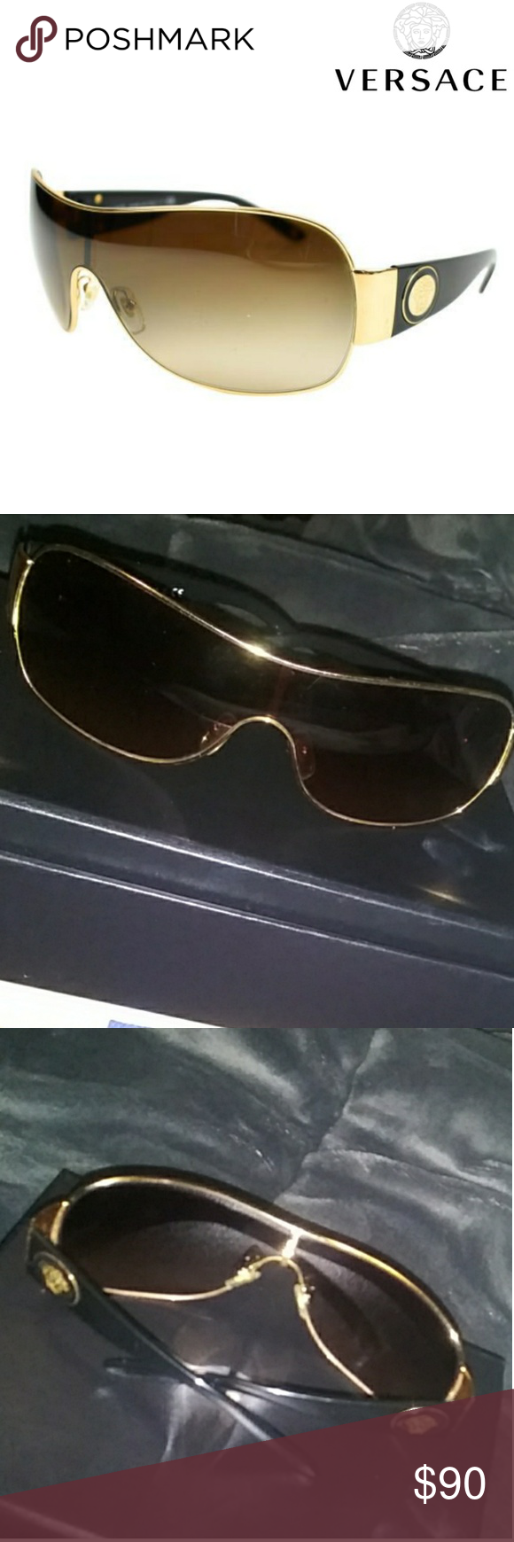d91b4d7adf Versace Sunnies Versace women s shield sunglasses MOD 2101 1002 13 120 3N  Black Gold with brown Gradient lenses Great condition with minor blemishes  from ...