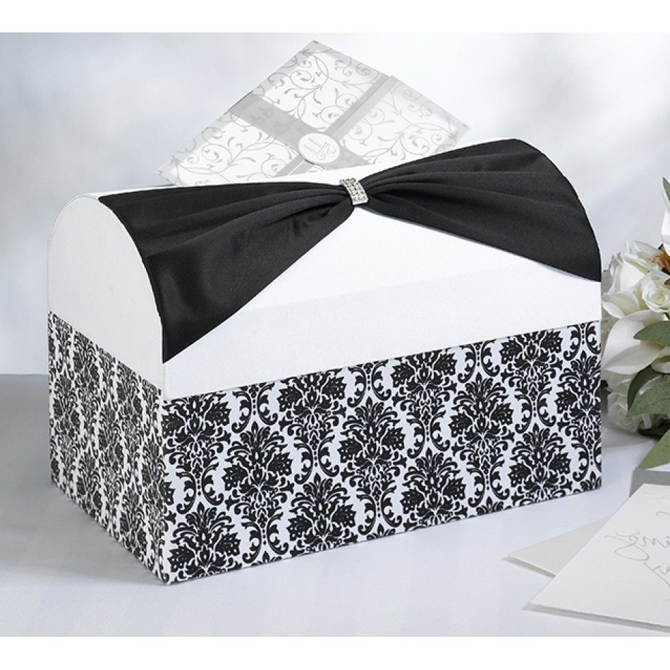 Black Damask with White Wedding Card Box [576-MB735 Damask Card Box ...