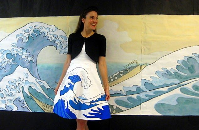 Hokusai painting with Hokusai applique dress. The Great Wave.