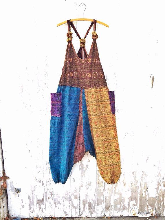 e9cab887d71 90s Boho Overalls Baggy Harem Tribal Romper Patchwork Hammer Hippie Free  Size