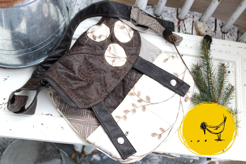 Sac à main à bandoulière feuille brune fait de cuir brun et de polyester récupéré, éco-responsable, 95% de récupération, éco-responsable de la boutique 3petitspoints sur Etsy