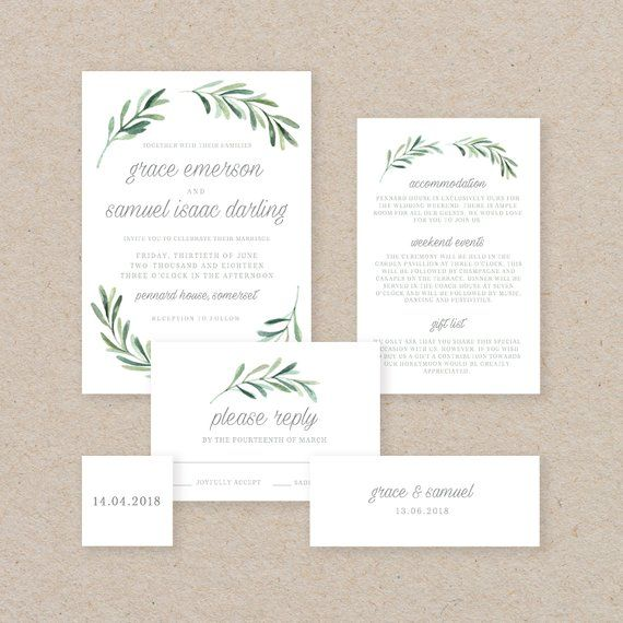 Editable Wedding Invitation Template, Printable Wedding Invitation