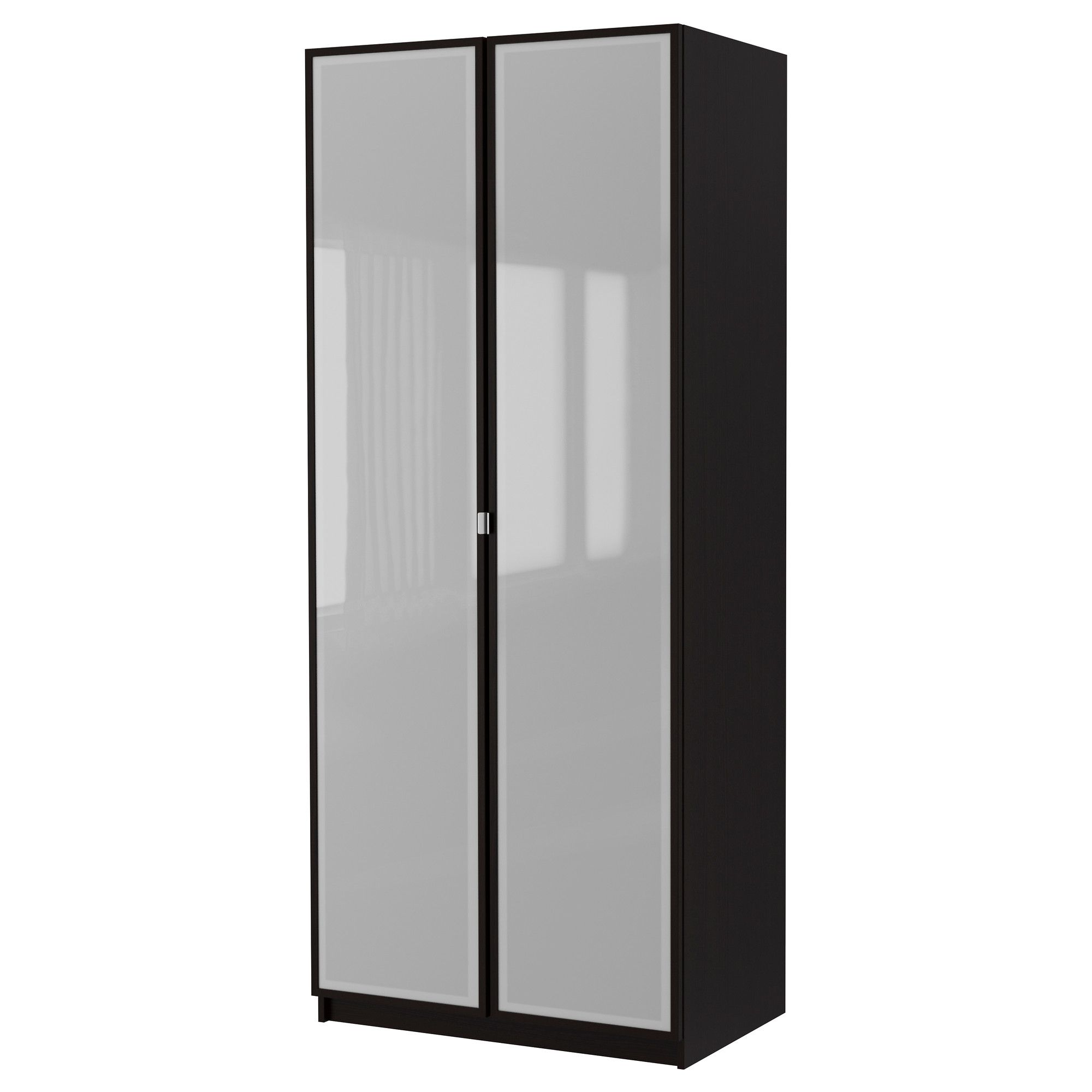 Pax Wardrobe With 2 Doors Fevik Black Brown Frosted Glass