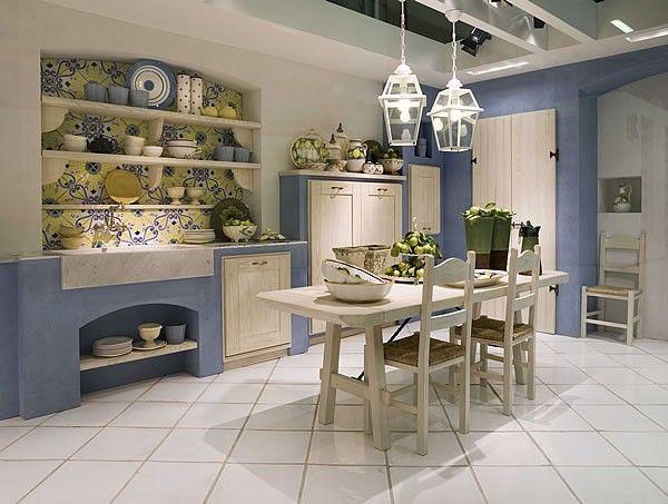 cucine in muratura moderne colorate - Cerca con Google | cucine ...