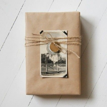 Brown Kraft Paper Wrap...tied with jute & an old photo & tag.
