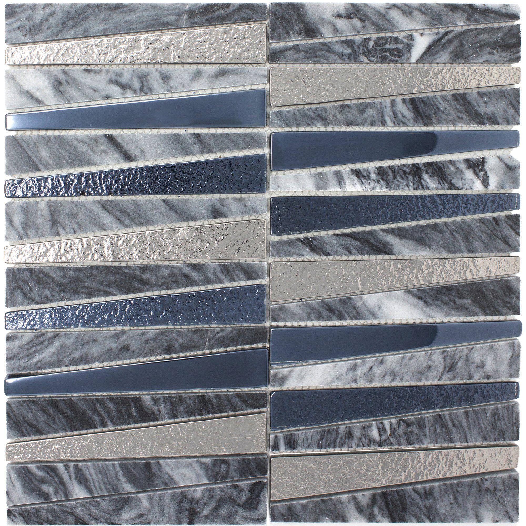 Tdlg 03 Irregular Triangle Grey Stone And Metallic Glass Mosaic