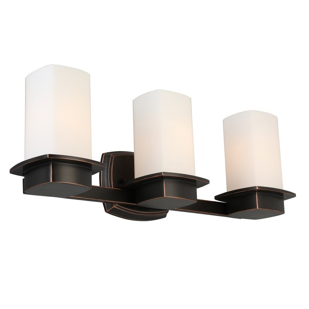 Photo of Eglo Vlacker 3-Light Bath/Vanity Light w/ Oil Rubbed Bronze Finish & Frosted Opal Glass, Brown