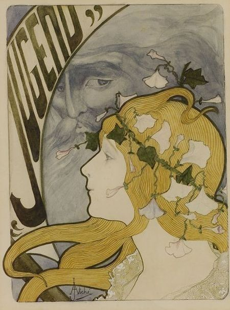 """artemisdreaming: Jugend Jane Atché . Jane Atché 1872-1937 French, b. Toulouse Bio via metropostcard.com: """"Atché was a printer painter who was a close associate of Alphonse Mucha, and worked in a strong Art Nouveau Style. She created posters for Job cigarette paper, which wound up as illustrations on postcards."""""""