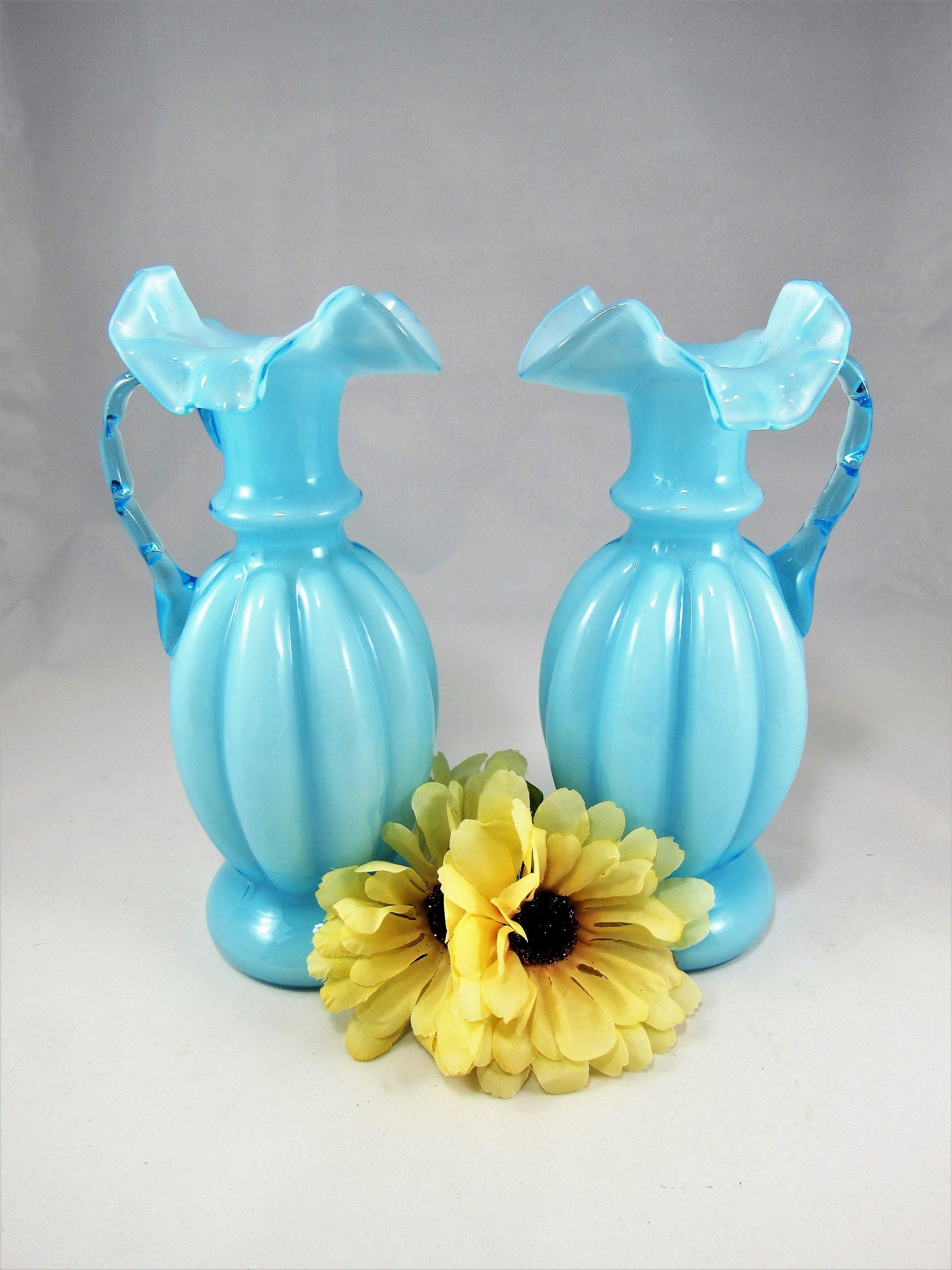 Beautiful Vintage Pair of Blue 8 3/4 Tall FENTON 1940's Blue Overlay on swan balloons, swan cookware, swan rugs, swan animals, swan glass, swan jewelry, swan cookies, swan boxes, swan toys, swan fruit, swan serveware, swan figurines, swan flowers, swan tea set, swan wall decals, swan statuary, swan prints, swan weathervanes, swan paintings, swan cups,