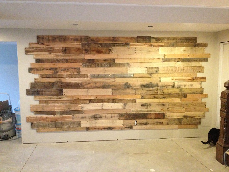 DIY wood accent wall with chalkboard and built-in shelves ...