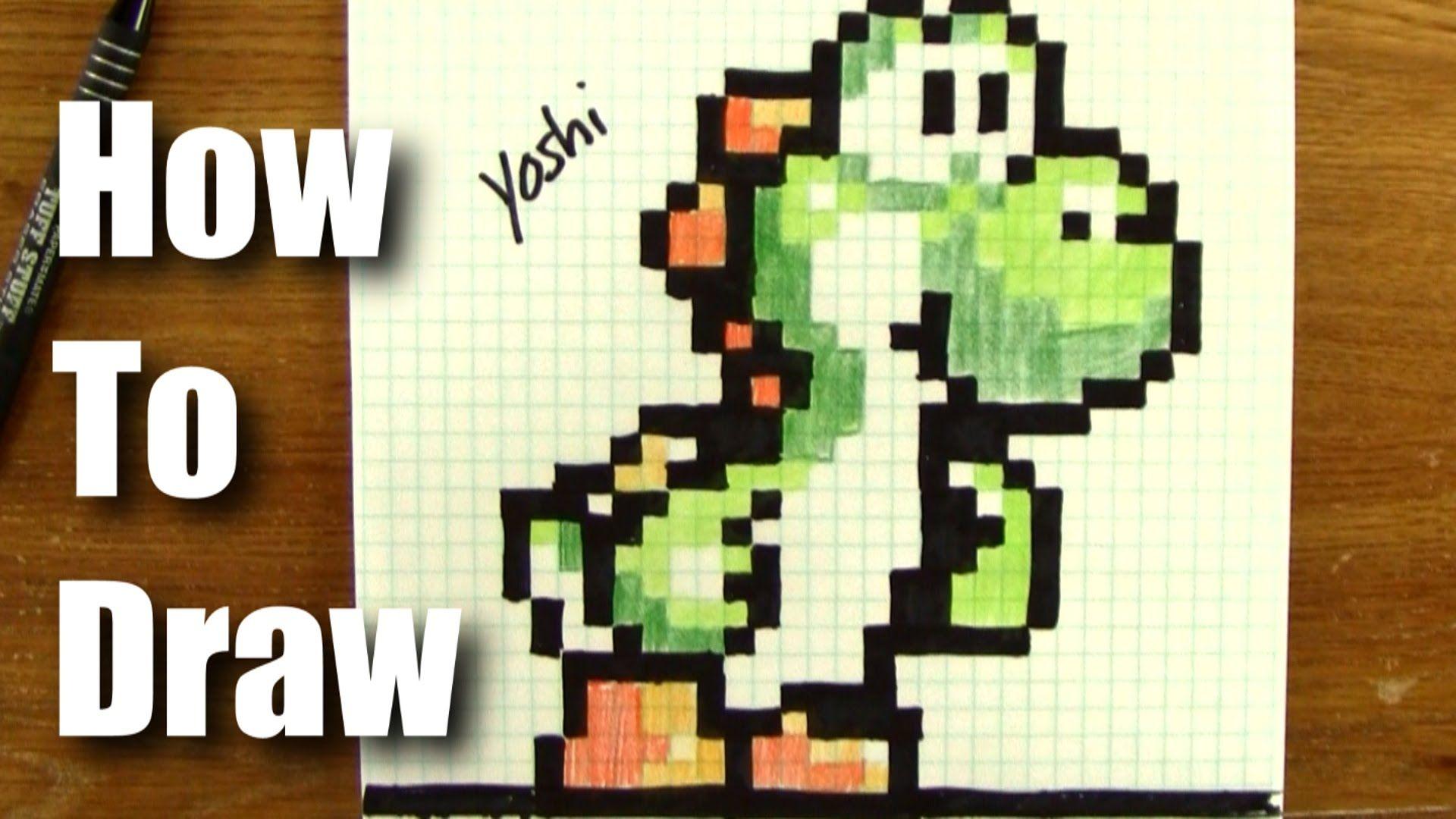 How To Draw 8 Bit Yoshi From Mario! | 8-bit drawing | Yoshi drawing