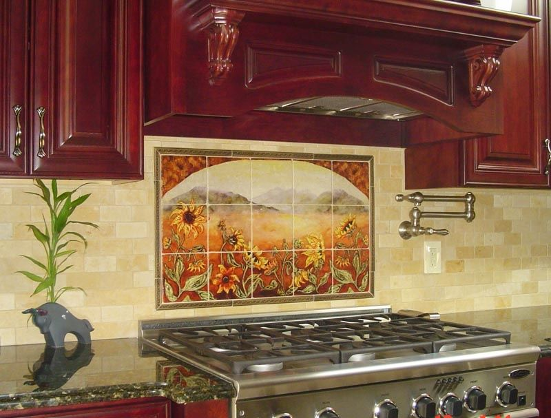 Sunflower Kitchen Backsplashes Tile Murals Kitchen Decor Tiles Sunflower Kitchen Decor Kitchen Backsplash Inspiration