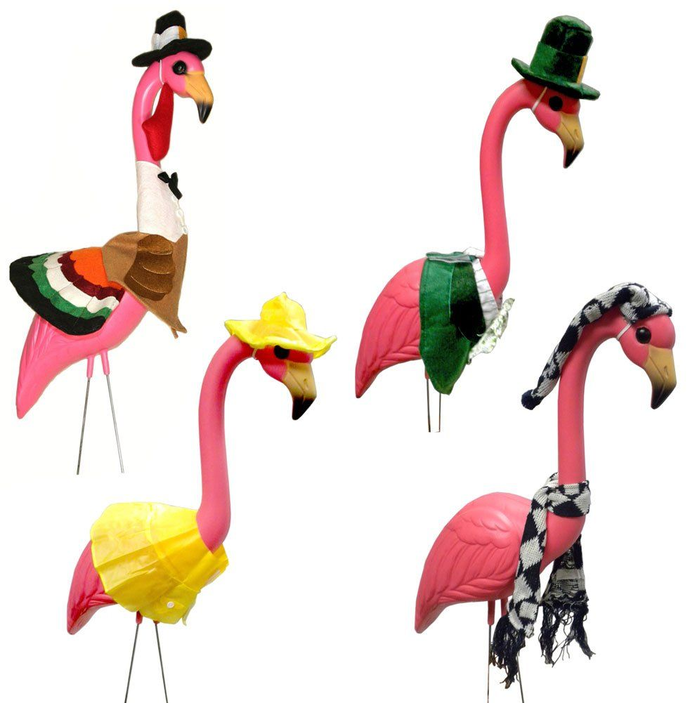 Large Pink Flamingo With 4 Seasonal Outfits Outdoor Lawn 400 x 300
