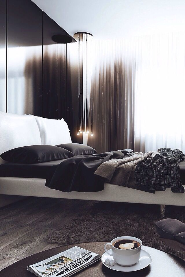 Beautiful, simple and chic home design. Love the black sheets and ...