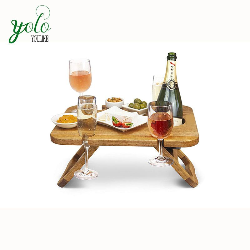 Modern Outdoor Food Serving Tray Removeable Wine And Snack Holder