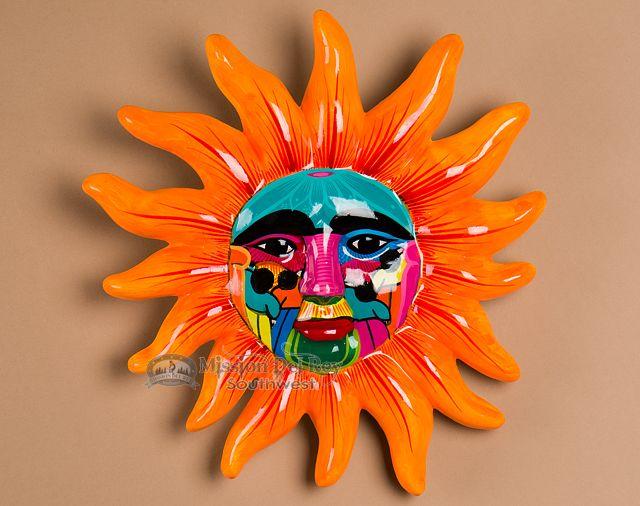Hand Painted Pottery Wall Sun 12 (p296) #paintedpottery