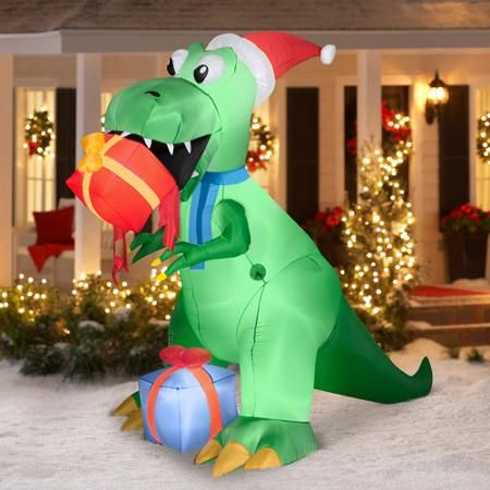 75\u0027 T-Rex with Present Airblown Inflatable Christmas Prop (I would - inflatable christmas yard decorations