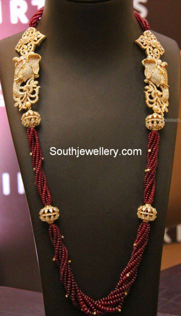 Ruby Beads Mala With Side Pendants Jewellery Jewelry