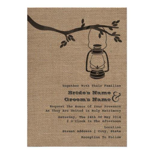 Outdoor Themed Wedding Invitations: Burlap Inspired Outdoor / Camping Wedding Invitation