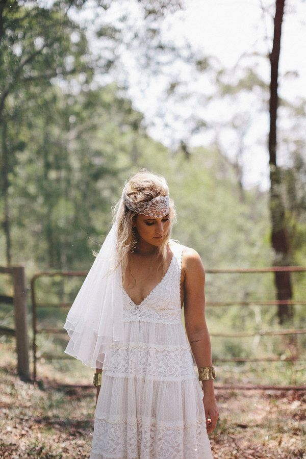 Bohemian vintage style wedding dress with fitted French lace cups ...