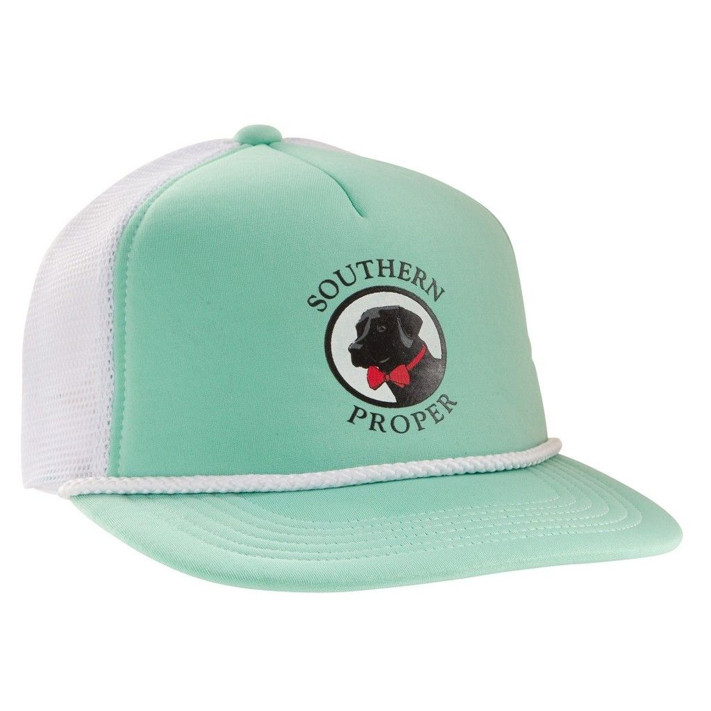 552ffe3138ffb Old Pro Trucker Hat in Seafoam Green and White by Southern Proper ...