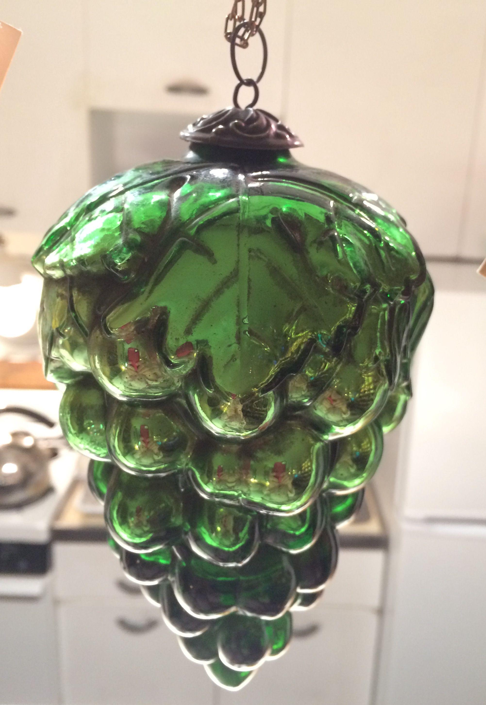 19th Century Glass Kugel Christmas Ornament Measuring 6 Long Made