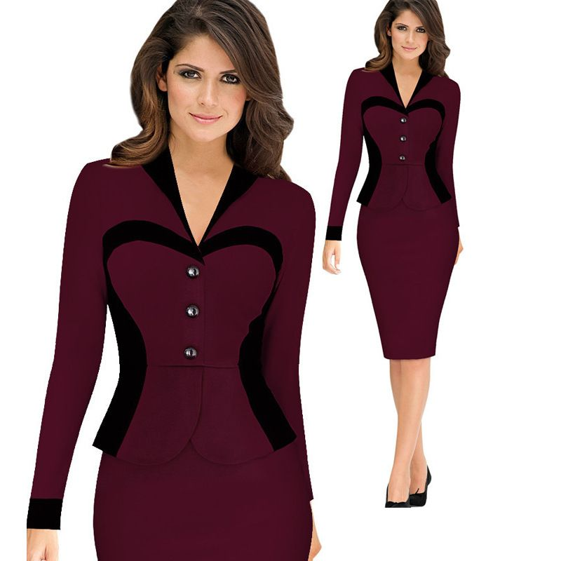 2016 New Formal Faux 2 Pieces Womens Pencil Dress Ladies Office Wear