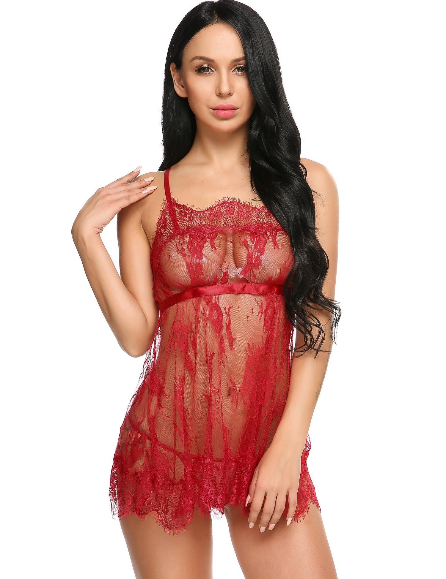 f3594a651c8 Purple Spaghetti Strap Lace Patchwork Nightgown With G-String Set ...