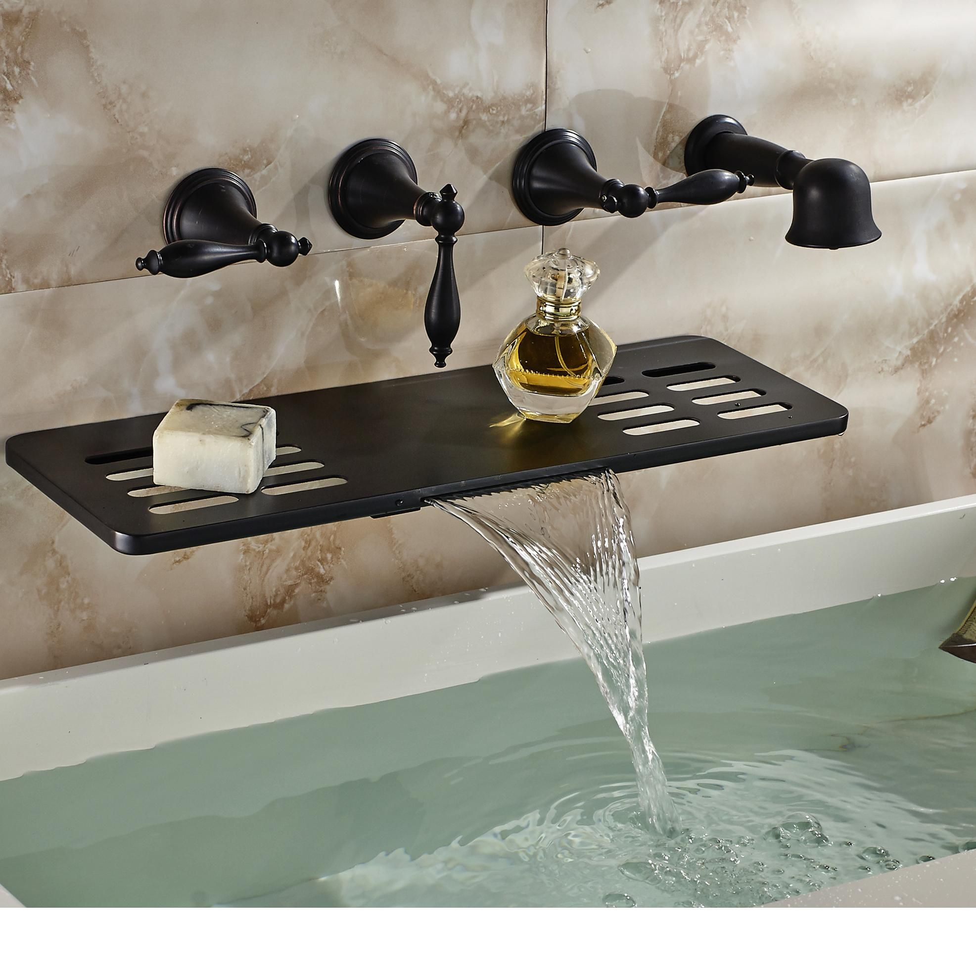Choosing Wholesale Wholesale And Retail Wall Mounted Bathroom Tub Faucet  Oil Rubbed Bronze Waterfall Spout W/ Soap Dish Holder Hand Shower Sprayer  Online?