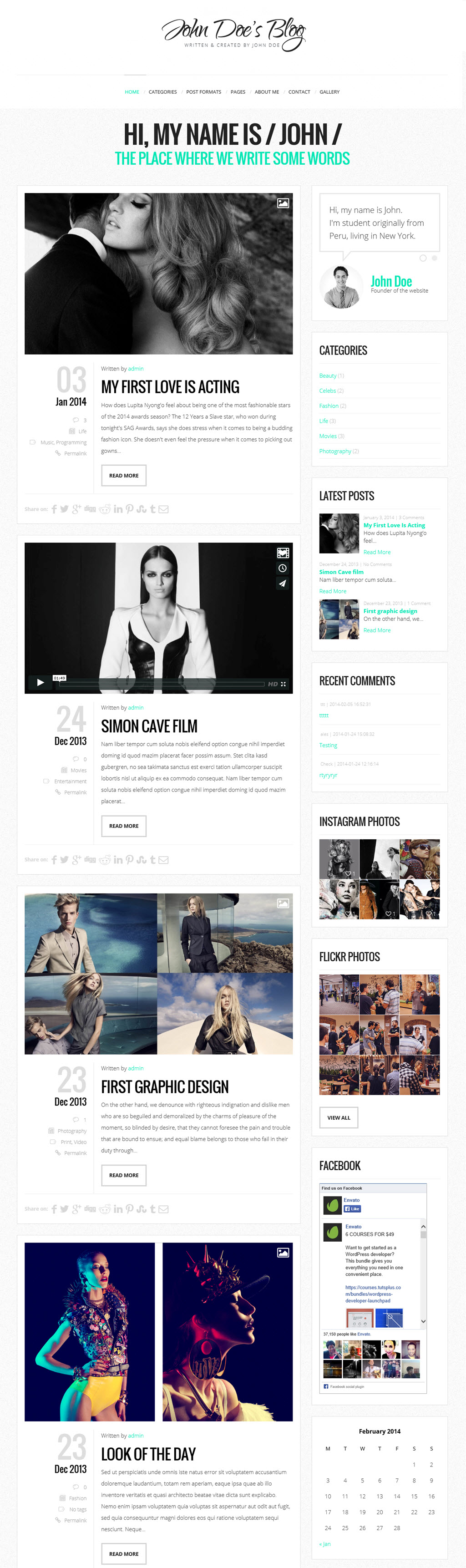 John Doe's Blog – Clean & Personal WordPress Blog Theme
