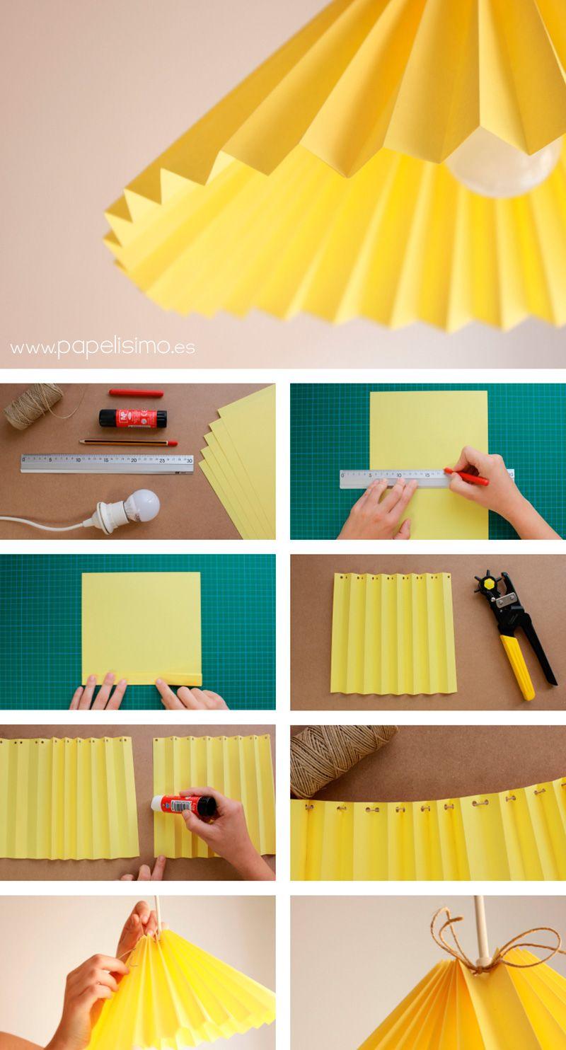 Pantalla lampara de papel origami paper lamp tutorial - Pantallas de lamparas ...