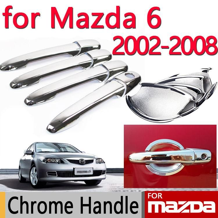 Chrome Door Handle Covers Trim Set For Mazda 6 2002 2008 4 Door Atenza Accessories 2003 2004 2005 Sedan Wagon Car Styling Chrome Door Handles