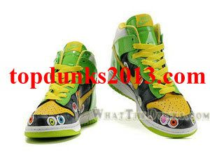 the best attitude 3c0ff 7cdc4 Best Price Grass Green Black Yellow Eyes High Top Custom Nike Dunk