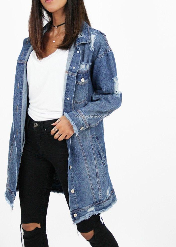 Veste en jean longue effet déchiré   Fall Winter fashion   Pinterest ... 7a03553ae12