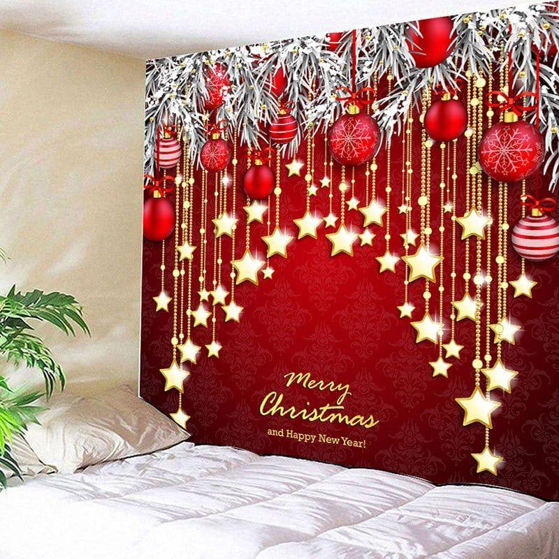Christmas Ball And Star Print Wall Hanging Tapestry Christmas Wall Decor Christmas Decorations Christmas Diy
