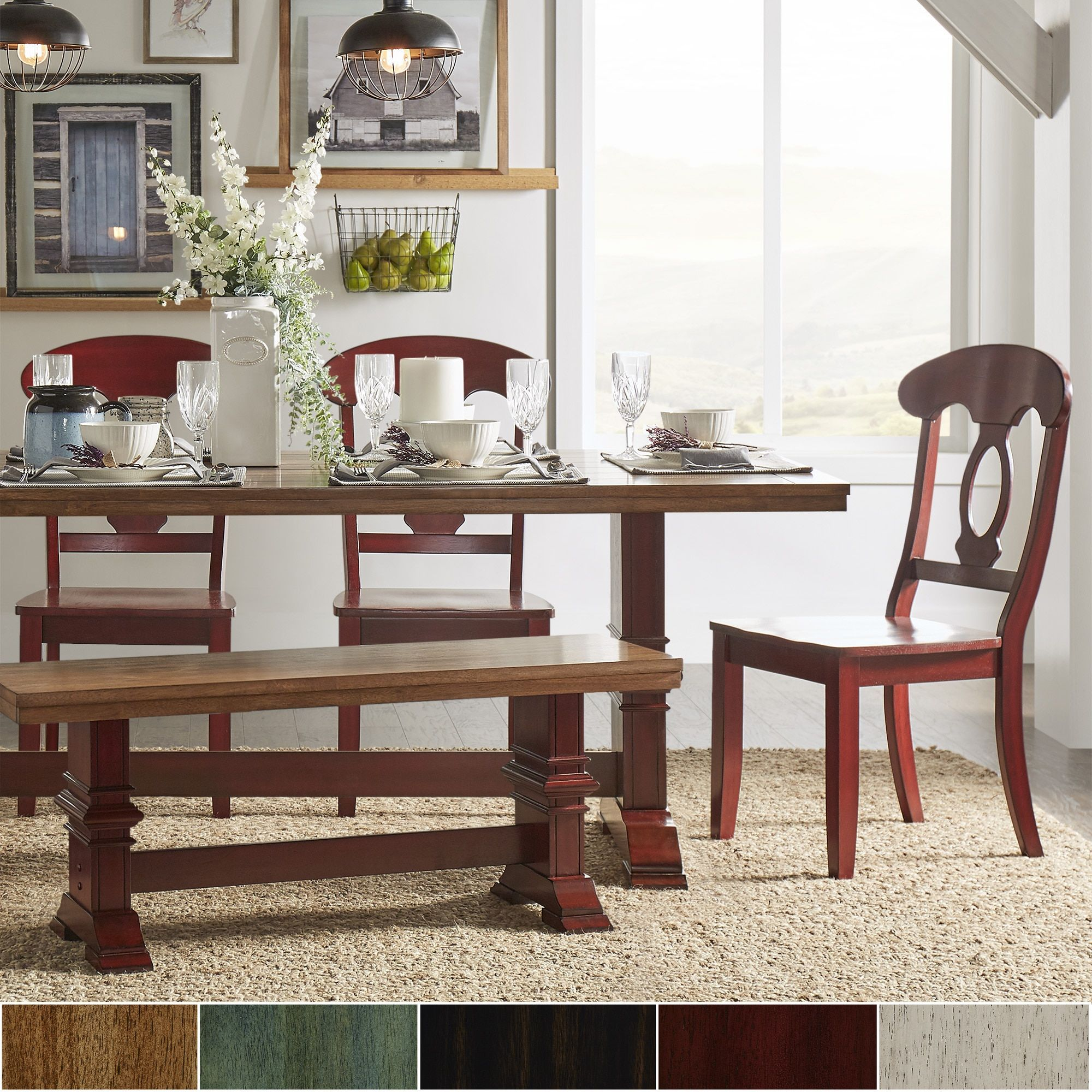 Eleanor oak farmhouse trestle base dining set napoleon back by inspire q classic set berry red chairs natural size sets